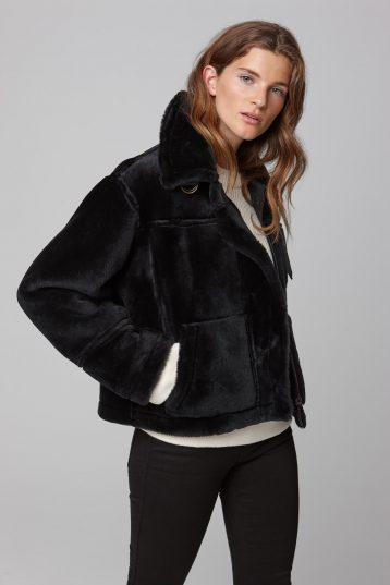 leather trim shearling aviator jacket in black - women | gushlow and cole - cell image 4