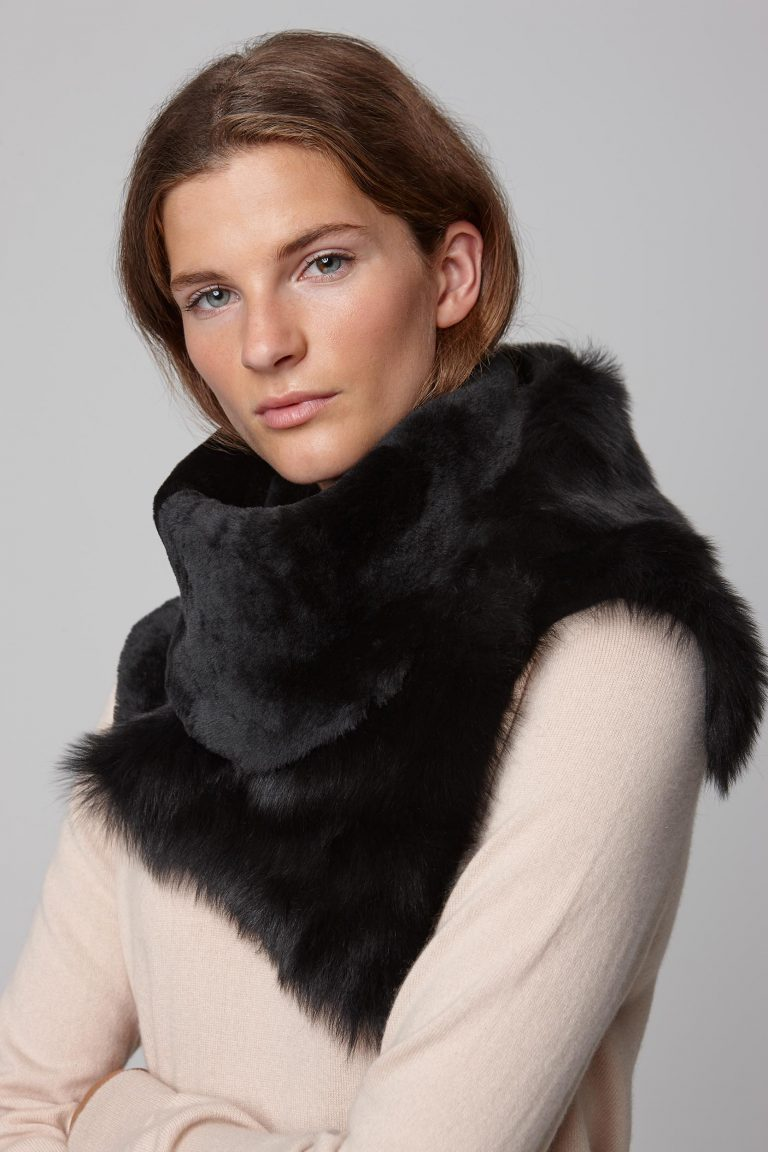 black shearling baby mixed texture scarf - women   gushlow and cole - cell image 3