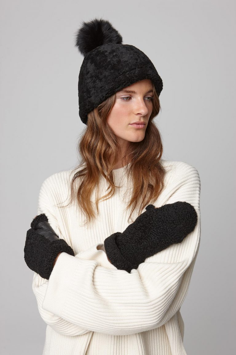 shearling beanie hat in black - women | gushlow and cole - cell image 2