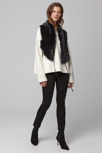 black shearling shawl scarf with leather tie - women | gushlow and cole - cell image 1