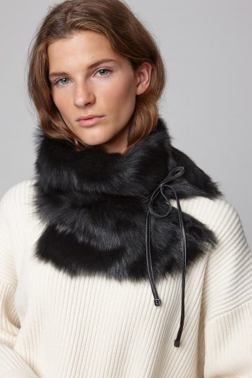 black shearling shawl scarf with leather tie - women | gushlow and cole - cell image 3