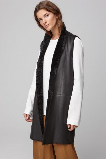 stand collar shearling and knit gilet in black - women | gushlow and cole - cell image 6