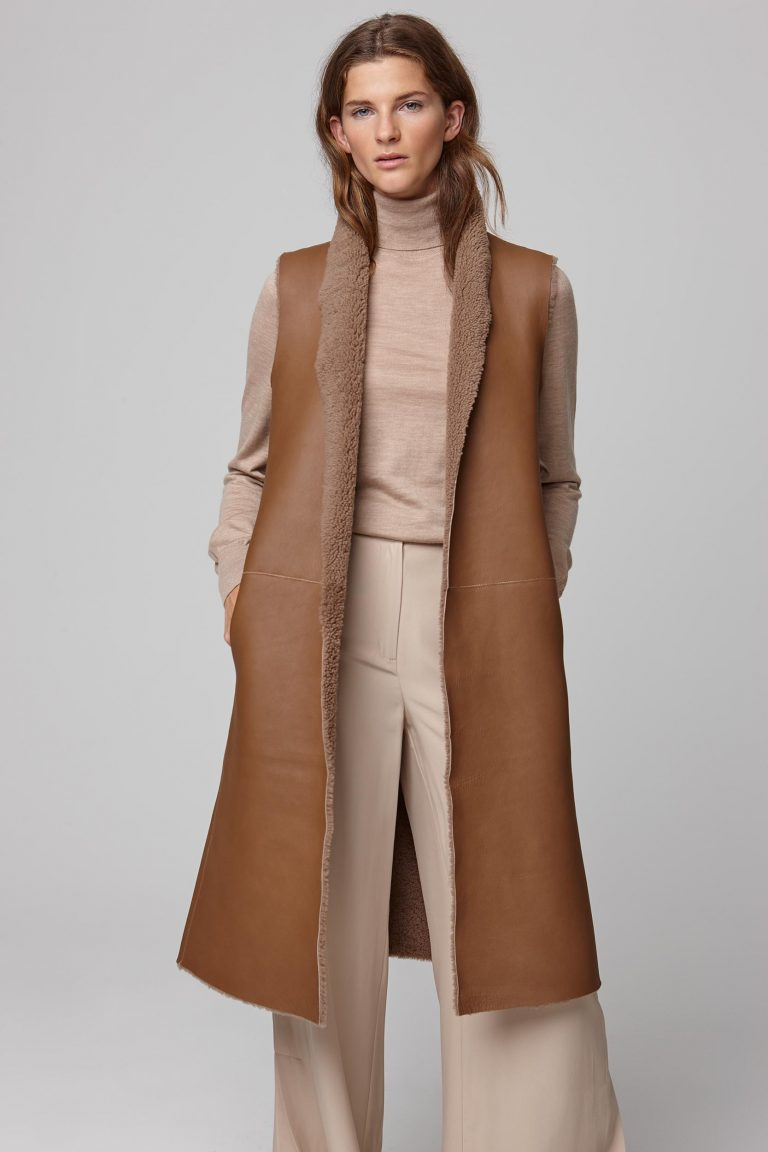 shearling sleeveless coat in camel - women | gushlow and cole - cell image 5