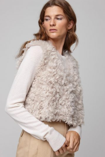 cropped white shearling gilet - women | gushlow and cole - cell image 2