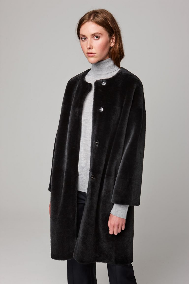neat collarless shearling coat in dark grey - women   gushlow and cole - cell image 2