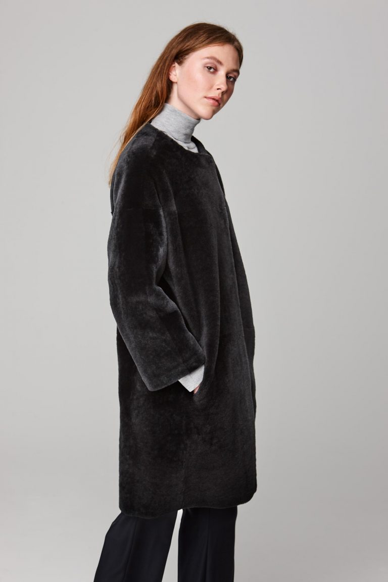 neat collarless shearling coat in dark grey - women   gushlow and cole - cell image 3