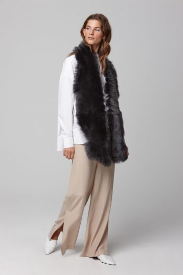 dark grey long shearling scarf - women | gushlow and cole - cell image 1