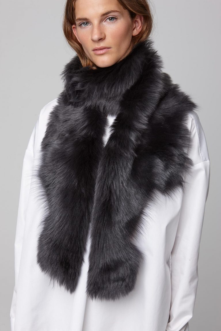dark grey long shearling scarf - women   gushlow and cole - cell image 3