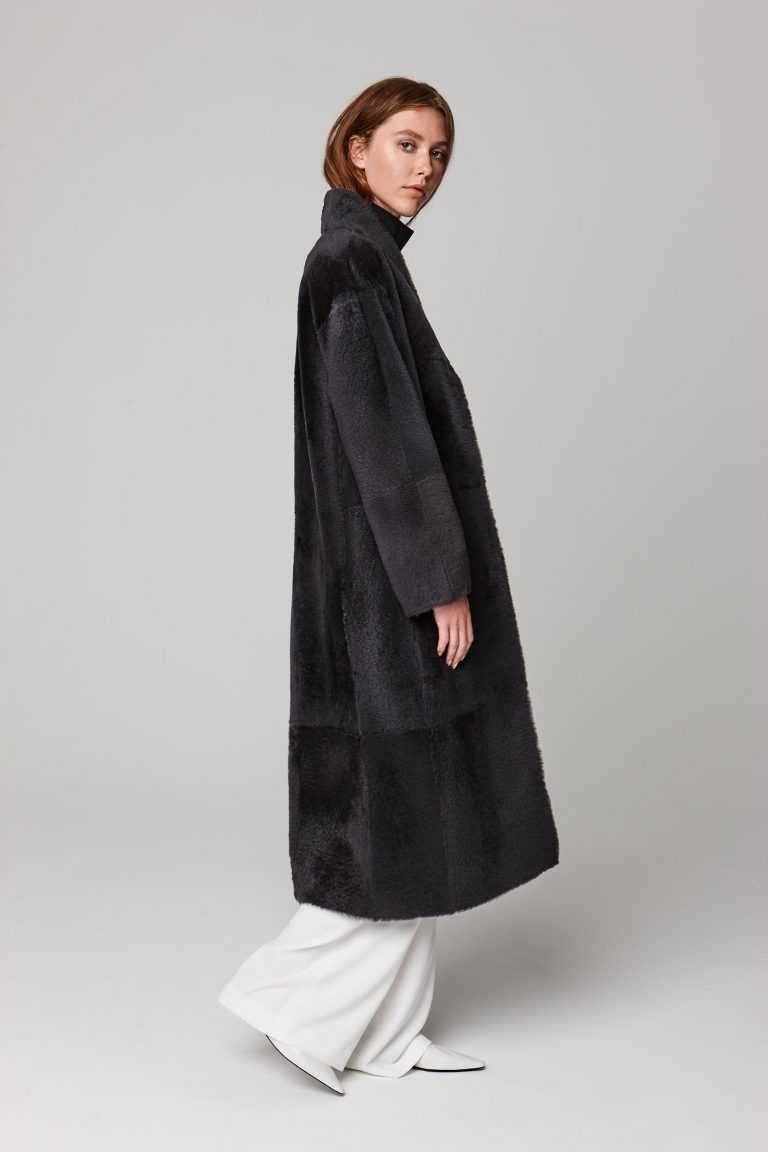 ultra soft stand collar long shearling coat in dark grey - women | gushlow and cole - cell image 1