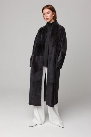 ultra soft stand collar long shearling coat in dark grey - women | gushlow and cole - cell image 2