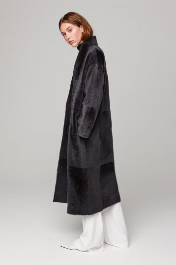 ultra soft stand collar long shearling coat in dark grey - women | gushlow and cole - cell image 4
