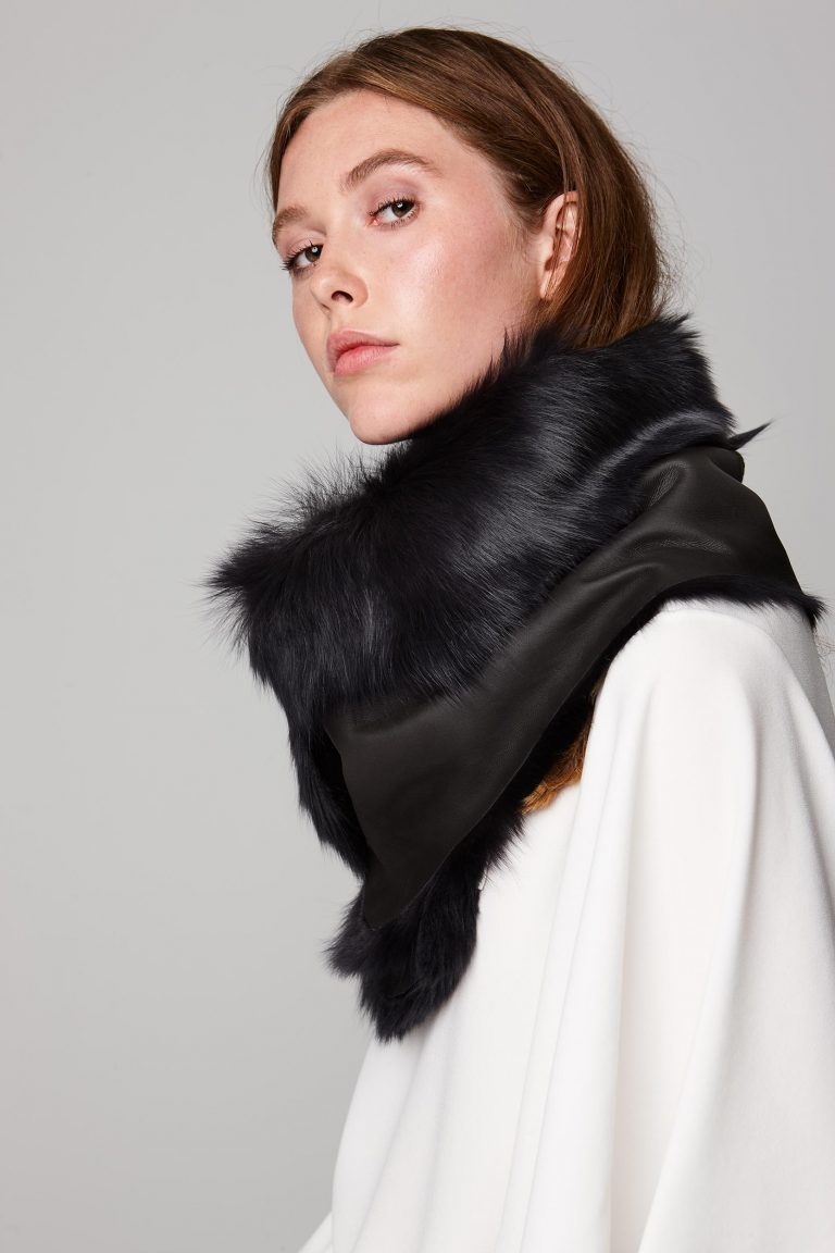 two button shearling snood scarf in dark grey - women   gushlow and cole - cell image 1