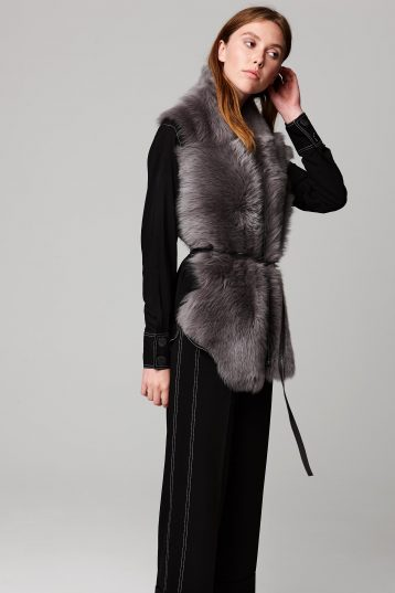 grey long shearling scarf with detachable leather belt - women | gushlow and cole - cell image 1