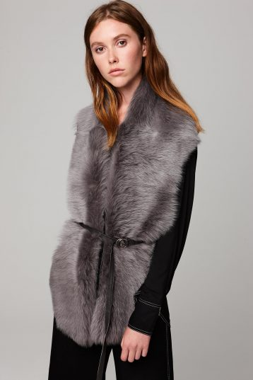 grey long shearling scarf with detachable leather belt - women | gushlow and cole - cell image 3