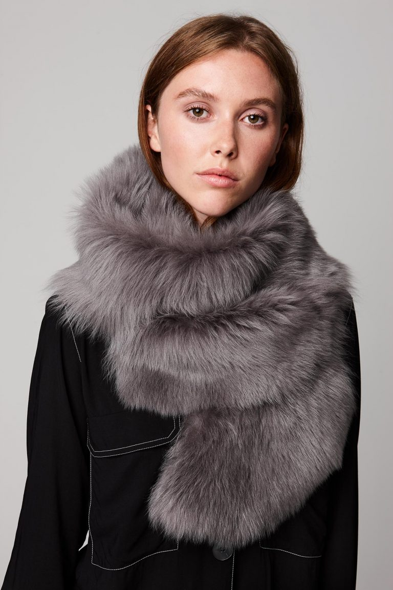 grey long shearling scarf with detachable leather belt - women | gushlow and cole - cell image 4