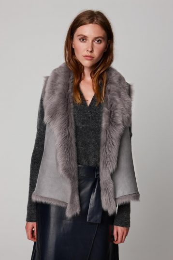 rough cut grey shearling gilet - women | gushlow and cole - cell image 5