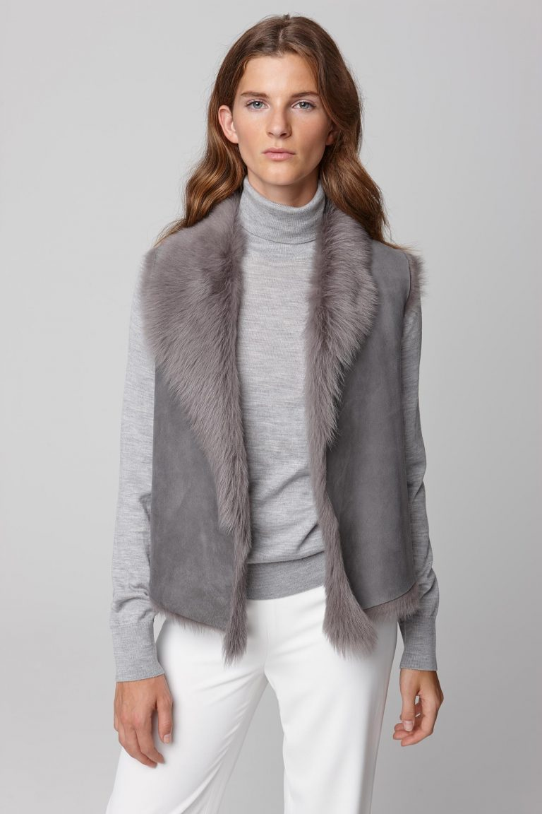 shearling and hand knit gilet in grey - women | gushlow and cole - cell image 2