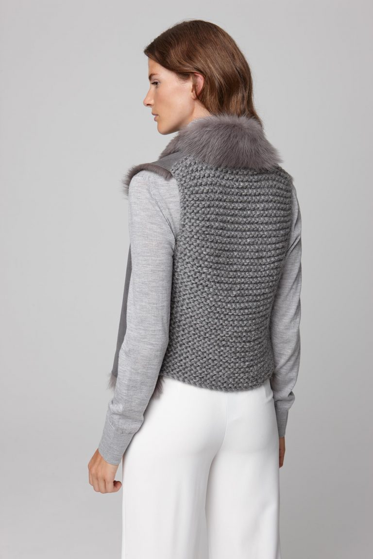 shearling and hand knit gilet in grey - women | gushlow and cole - cell image 3