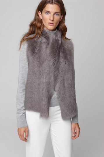 shearling and hand knit gilet in grey - women | gushlow and cole - cell image 4