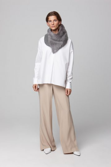 shearling and hand knit snood in grey - women | gushlow and cole - cell image 1