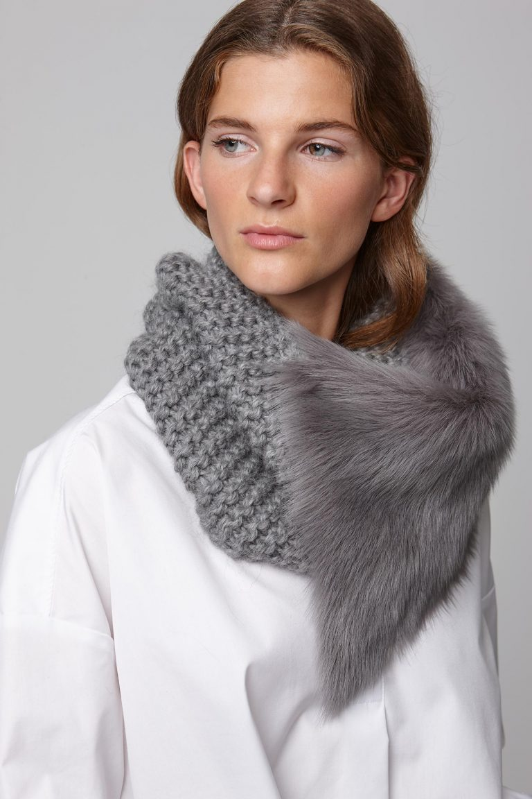 shearling and hand knit snood in grey - women | gushlow and cole - cell image 3