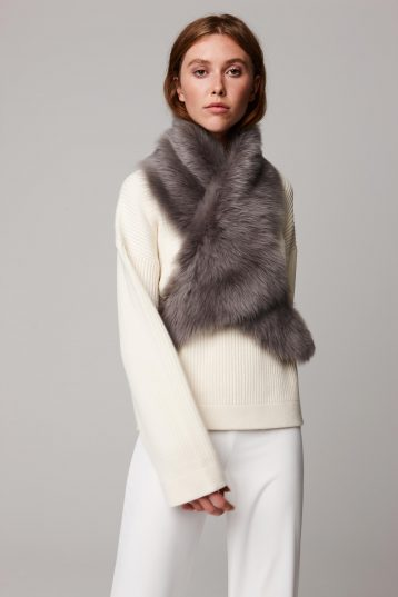 grey shearling shawl scarf with leather tie - women | gushlow and cole - cell image 3