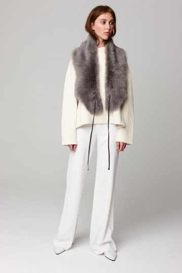 grey shearling shawl scarf with leather tie - women | gushlow and cole - cell image 1