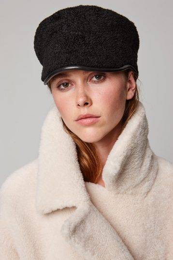 leather trimmed black shearling cap - women | gushlow and cole - cell image 1