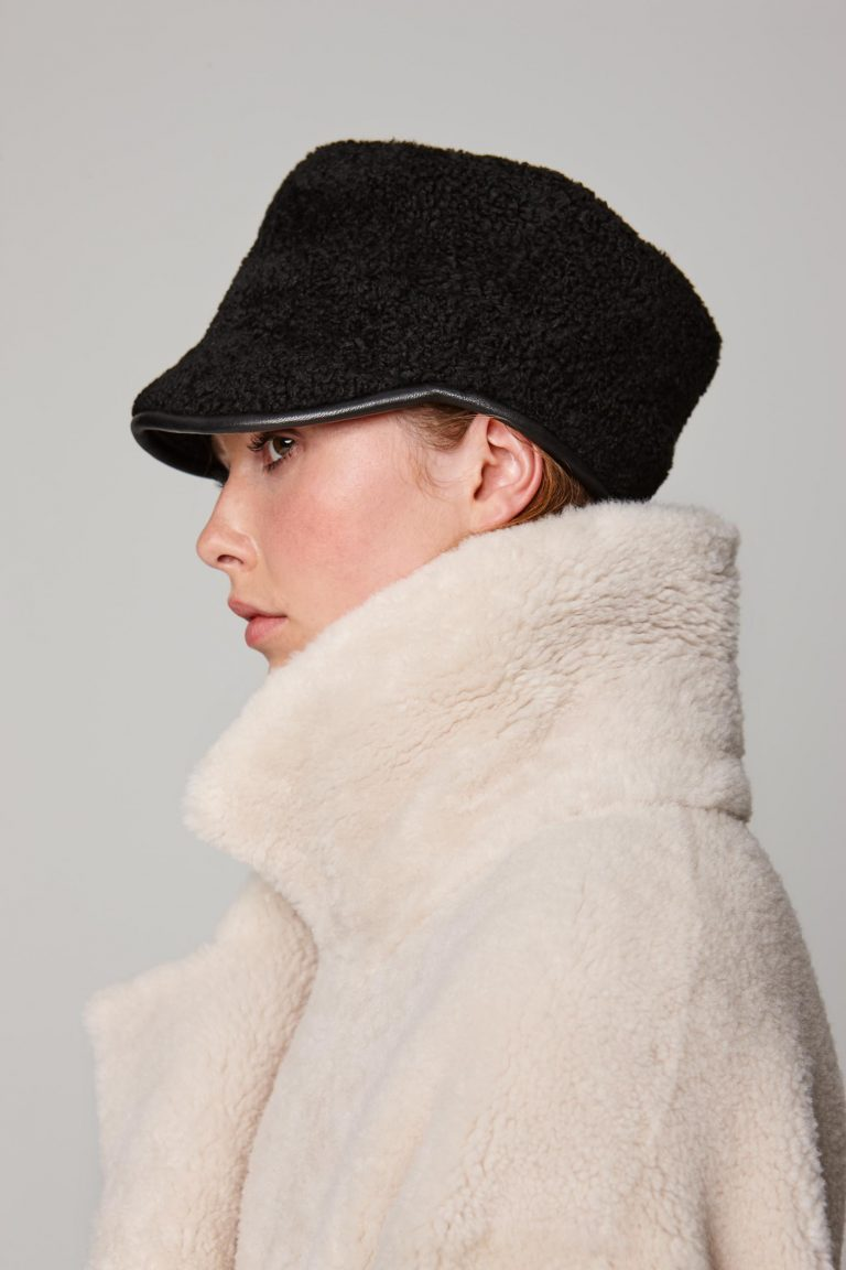 leather trimmed black shearling cap - women | gushlow and cole - cell image 2