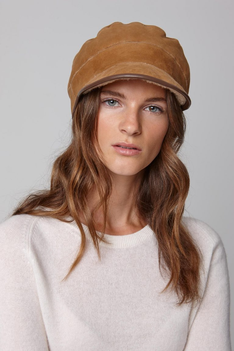 leather trimmed tan shearling cap - women | gushlow and cole - cell image 2