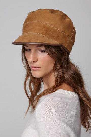 leather trimmed tan shearling cap - women | gushlow and cole - cell image 1