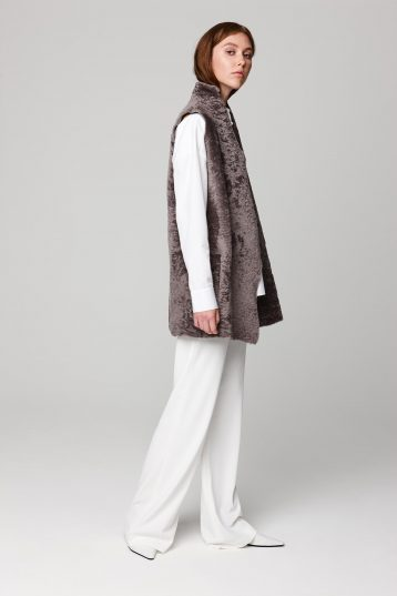 mid length lightweight taupe shearling gilet - women | gushlow and cole - cell image 2