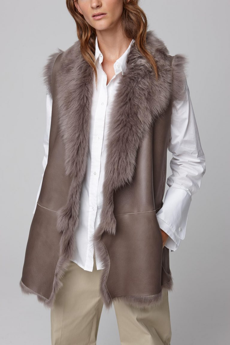 mid length rough cut taupe shearling gilet - women | gushlow and cole - cell image 1