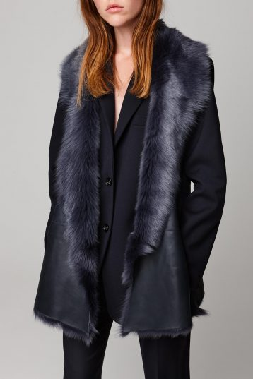 mid length mixed texture navy shearling gilet - women | gushlow and cole - cell image 4