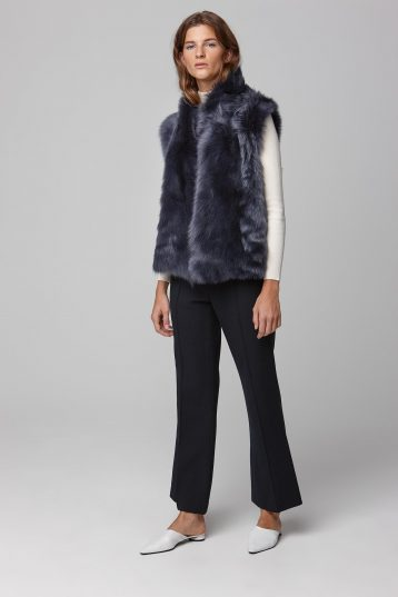 rough cut navy shearling gilet - women | gushlow and cole - cell image 1