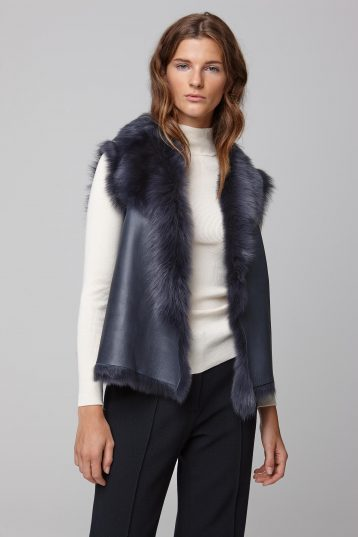 rough cut navy shearling gilet - women | gushlow and cole - cell image 4