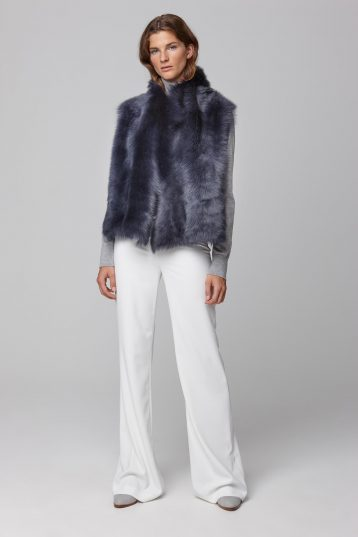 shearling and down gilet in navy - women | gushlow and cole - cell image 1