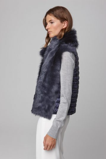 shearling and down gilet in navy - women | gushlow and cole - cell image 2