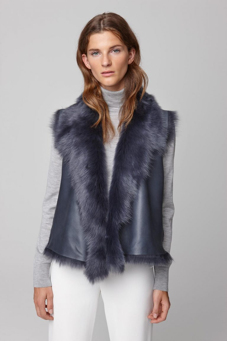 shearling and down gilet in navy - women | gushlow and cole - cell image 4