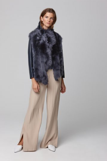shearling and hand knit gilet in navy - women | gushlow and cole - cell image 1