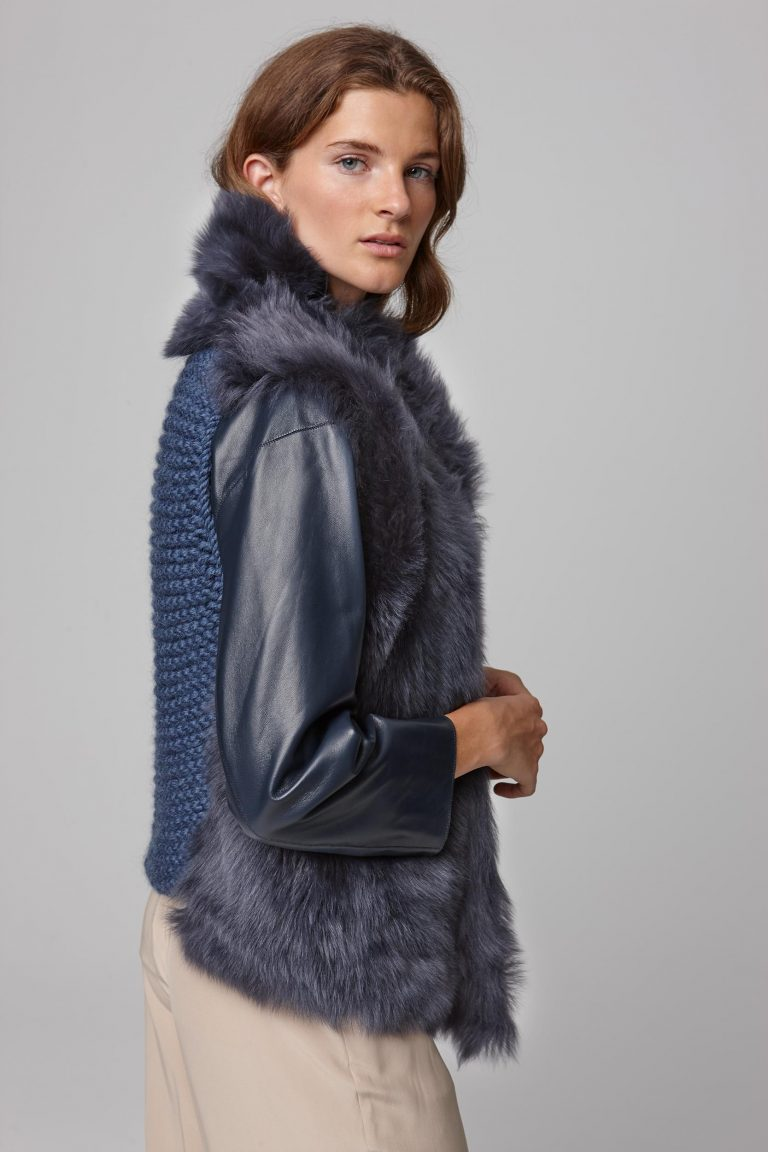 shearling and hand knit gilet in navy - women | gushlow and cole - cell image 5
