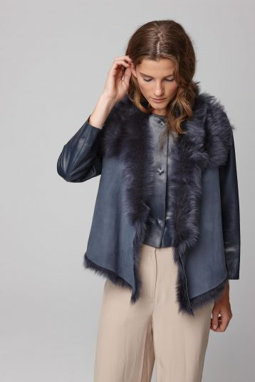 shearling and hand knit gilet in navy - women | gushlow and cole - cell image 6