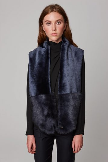 navy shearling baby mixed texture scarf - women | gushlow and cole - cell image 1