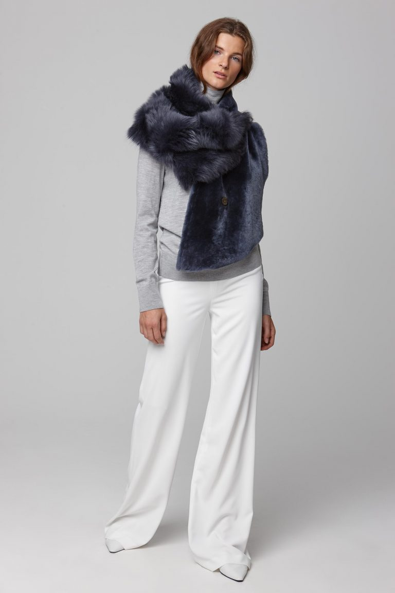 shearling double shawl scarf in navy - women | gushlow and cole - cell image 2