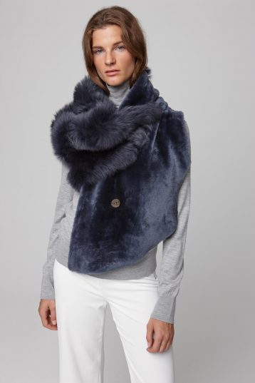 shearling double shawl scarf in navy - women | gushlow and cole - cell image 3