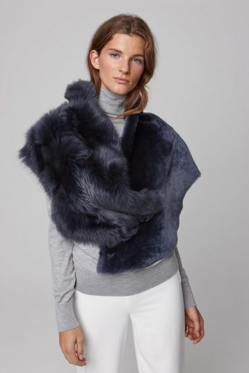 shearling double shawl scarf in navy - women | gushlow and cole - cell image 1