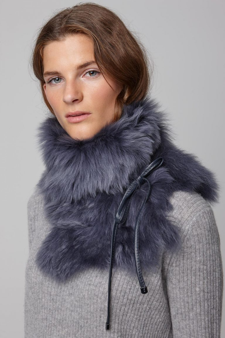 navy shearling shawl scarf with leather tie - women | gushlow and cole - cell image 3