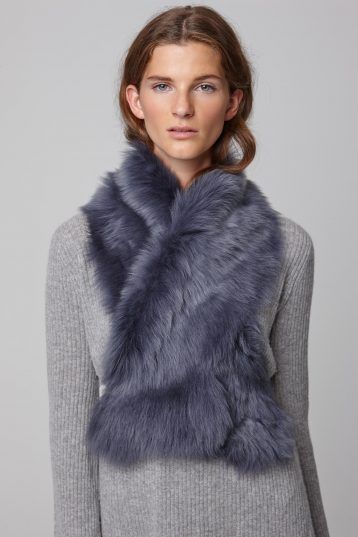 navy shearling shawl scarf with leather tie - women | gushlow and cole - cell image 4