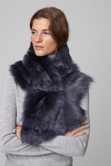 two button shearling snood scarf in navy - women | gushlow and cole - cell image 3