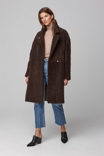 notch collar green shearling over coat - women | gushlow and cole - cell image 1